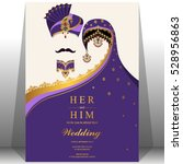 indian wedding card  gold and... | Shutterstock .eps vector #528956863