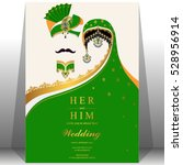 indian wedding card  gold and... | Shutterstock .eps vector #528956914