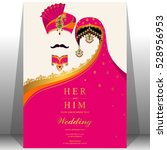 indian wedding card  gold and... | Shutterstock .eps vector #528956953