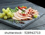 cold meat plate. sliced ham... | Shutterstock . vector #528962713