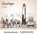 santiago skyline  chile. sketch.... | Shutterstock .eps vector #528965290