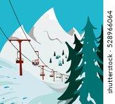 ski resort. ski lift in the... | Shutterstock . vector #528966064