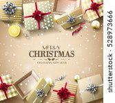 christmas gift boxes and... | Shutterstock .eps vector #528973666