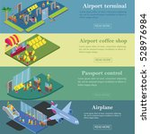 airport terminal isometric flat ... | Shutterstock .eps vector #528976984