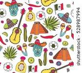 doodles seamless pattern of... | Shutterstock .eps vector #528987994