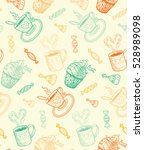 sketch coffee cups and sweets.... | Shutterstock .eps vector #528989098