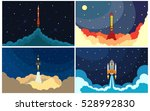 set of space rocket launch.... | Shutterstock .eps vector #528992830