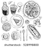vector set of fast food. vector ... | Shutterstock .eps vector #528998800