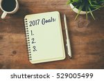 top view 2017 goals list with... | Shutterstock . vector #529005499