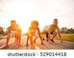 multiethnic group of young... | Shutterstock . vector #529014418