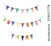 watercolor flag garlands set... | Shutterstock . vector #529017778