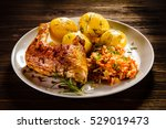 Grilled Chicken Leg With Boile...