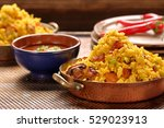 chicken with basmati rice fried ... | Shutterstock . vector #529023913