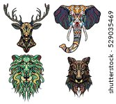 set of abstract vector tattoo... | Shutterstock .eps vector #529035469
