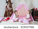 two little girls play in a... | Shutterstock . vector #529037980