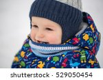 small boy in winter snow.  | Shutterstock . vector #529050454