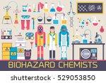 biohazard chemists in chemistry ... | Shutterstock .eps vector #529053850