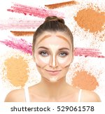 contouring.make up woman face.... | Shutterstock . vector #529061578