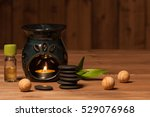 aroma lamp with burning candle. ...   Shutterstock . vector #529076968