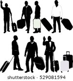 men with traveling bags   vector | Shutterstock .eps vector #529081594