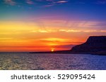 beautiful colorful sunset at... | Shutterstock . vector #529095424