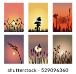 a set of silhouette landscapes... | Shutterstock .eps vector #529096360