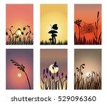A Set Of Silhouette Landscapes...