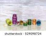 multicolored plastic cans with... | Shutterstock . vector #529098724