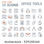 set vector line icons in flat... | Shutterstock .eps vector #529100164