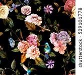 seamless pattern of carnation... | Shutterstock .eps vector #529101778