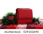 Women's Red Leather Hand Bag O...