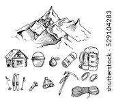 hand drawn ink  set of climbing ... | Shutterstock . vector #529104283