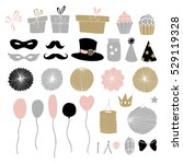 set of hand drawn party... | Shutterstock .eps vector #529119328