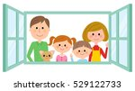 family to look out from the... | Shutterstock .eps vector #529122733