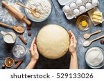 hands working with dough... | Shutterstock . vector #529133026