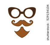 glasses and mustache and beard... | Shutterstock .eps vector #529154104