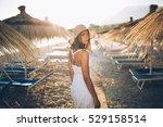 summer beach fashion woman... | Shutterstock . vector #529158514