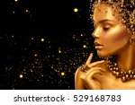 gold woman skin. beauty fashion ... | Shutterstock . vector #529168783