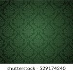 damask background dark green  ... | Shutterstock .eps vector #529174240