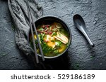 Hot Miso Soup With Salmon In...