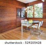 dining area within wooden home. | Shutterstock . vector #529205428