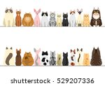 Stock vector cats border set front view and rear view 529207336