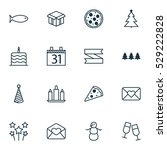 set of 16 holiday icons. can be ... | Shutterstock .eps vector #529222828