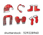 winter clothes. santa stocking... | Shutterstock .eps vector #529228960
