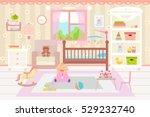 baby room interior. flat design.... | Shutterstock .eps vector #529232740