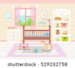baby room interior. flat design.... | Shutterstock .eps vector #529232758