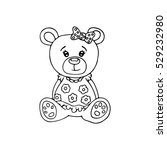 outlined cute teddy bear.... | Shutterstock .eps vector #529232980
