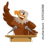 eagle speaks from tribune....