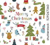 set of christmas fun and... | Shutterstock .eps vector #529267360