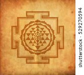 indian spiritual sri yantra   ... | Shutterstock .eps vector #529270594